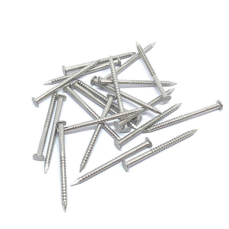 Stainless Checkered Flat Head Nails / Ring Shank Roofing Nails For Wood